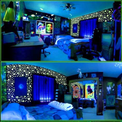 need help finding a wall color for a blacklight bedroom theme
