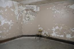 A room with moldy walls and a chair.