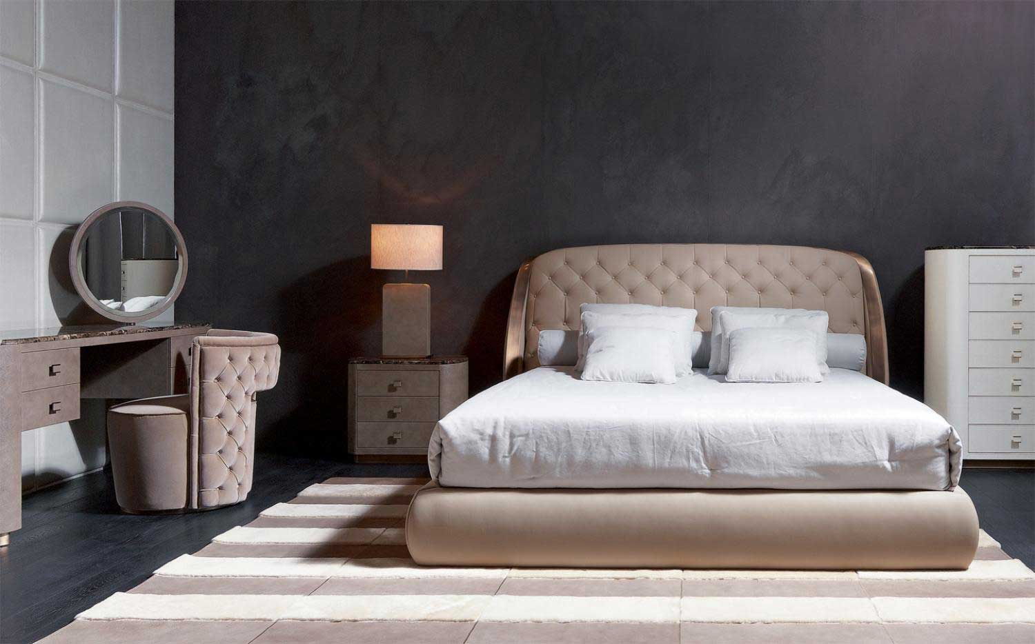Upholstered beds rugiano italy wood for Home decor beds