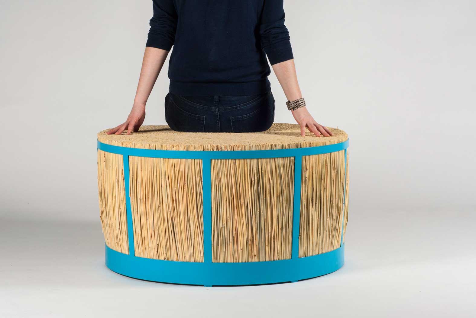 straw stool by juan cappa wood furniture