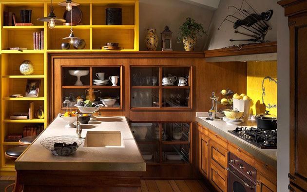 Cozy-Contemporary-Kitchen-Island-Design-with-Sink-Wooden-Cabinets-Yellow-Shelves-Wooden-Floor